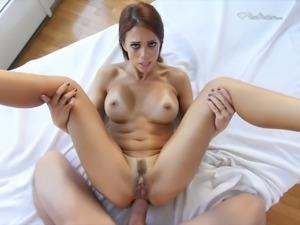 Appetizing long legged redhead thirsts for some hard analfuck missionary