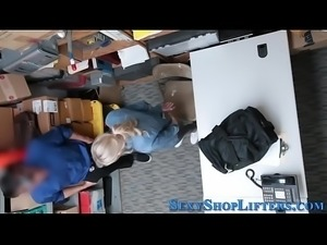 Real shoplifter jizzed on
