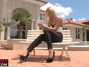 Raunchy Karina gets seduced outside and double teamed wildly