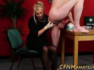 Cfnm amateur strokes cock