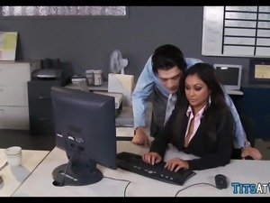 Indian MILF with Huge Tits at work