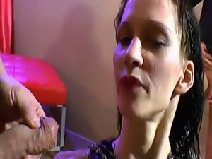 European babe gets gang banged by horny guys