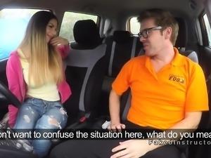 Fake driving instructor bangs busty babe