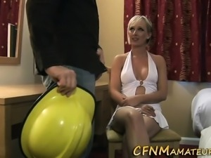 Busty amateur gives head
