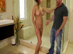 Hot masseuse Ashley Adams gets caught and fucks her stepdads fat cock