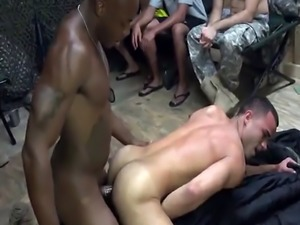 Gay soldiers have hot foreplay before being analled