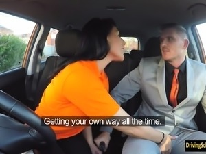 Big juggs examinee gets banged in the car for her to pass