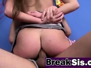 Big titted brunette stepsister Shelly Avery loves getting