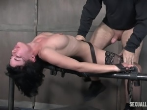 restrained olive gets her mouth and pussy penetrated hard