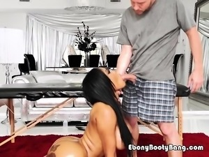 Sexy Ebony Babe Moriah Mills Blows Her Neighbor