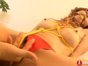 Tied up Japanese hottie Moe Aizawa gets her tight pussy tenderly teased