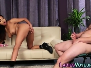 Black domina gets cumshot