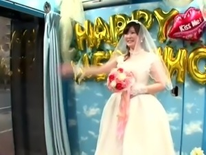Cheating Asian bride with perky tits enjoys cuckold fucking