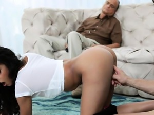 Claire Black and her pervy uncle fuck behind Claires dad