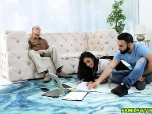 Pervy uncle hammer fucks Claire Blacks chocolate pussy