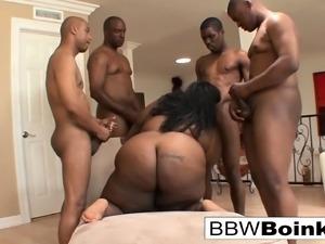 Chubby ebony gets DP'd in a hot hardcore gangbang