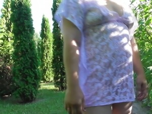 Hairy mature flashing in public park