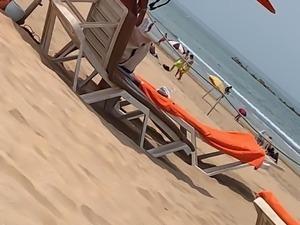 French Ebony babe at the beach