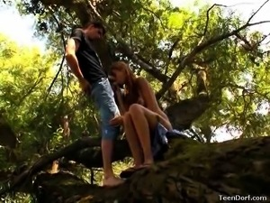 In the middle of the woods, this bubbly teen takes off her