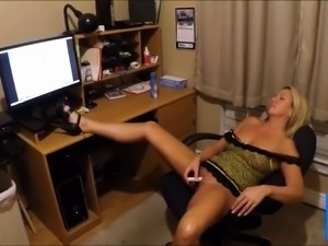 Girl cums watching a tribute to her