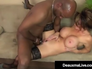 Busty milf boss deauxma banged by big black cock underling!