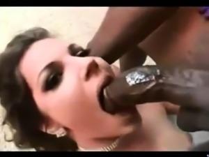 Interracial gang bang with black cocks ruins hot chick