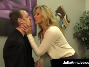 Big titty milf julia ann hugs lucky dude &amp milks his cock!