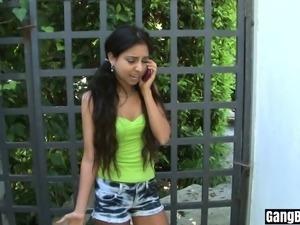 Extra small latina teen interracial gangbanged by BBCs