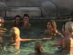 Sex games at the pool and hot big tits