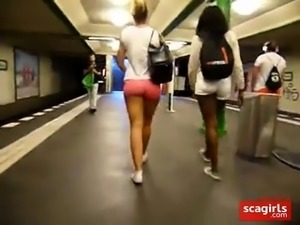 Black & White Girl Walking, Juicy bums in Tight Pink Shorts