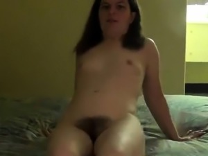 Horny brunette wife gets her tight hairy snatch creampied