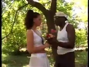 Forces white girl to receive her first black cock hard
