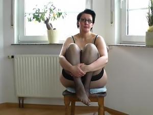 Curvy brunette milf in stockings wants it deep doggystyle