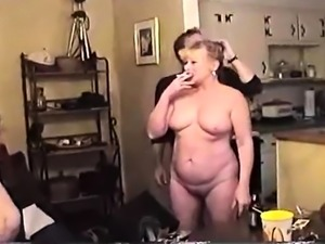 Two lustful mature wives indulge in interracial group sex