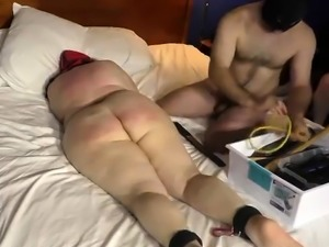 Kinky mature redhead gives a blowjob and gets spanked hard
