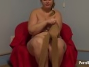 cute fatty in pantyhose and hairy pussy, handjob