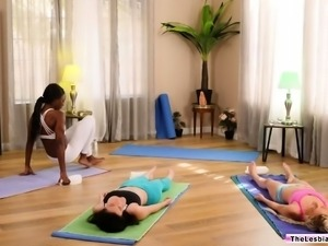 Lesbian couple licking each others pussy after yoga session