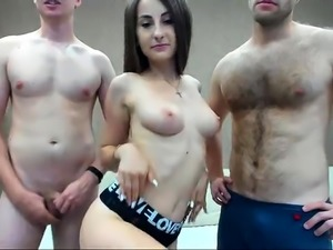 Sexy camgirl with perky boobs gets fucked hard by two boys