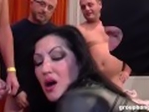 Incredible MILF Fucked by an Army of Men