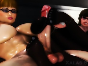 Fit hentai chick with small boobs rides this huge hentai