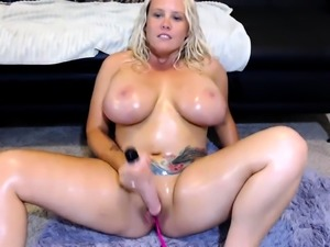 Busty blonde milf toying and fucked