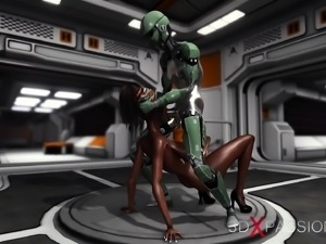 Horny black girl gets fucked by sex android in the base camp